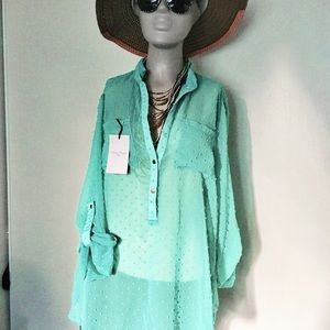 Camisoles Long Sleeve Button Down Green Size L NWT